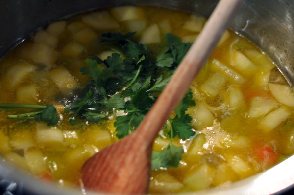 Adding parsley to stock
