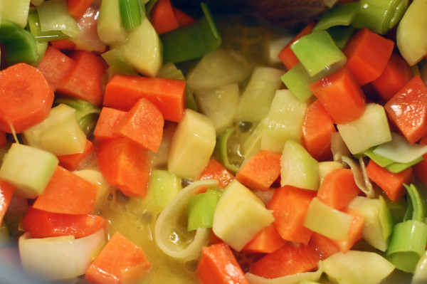 Chopped vegetables in butter