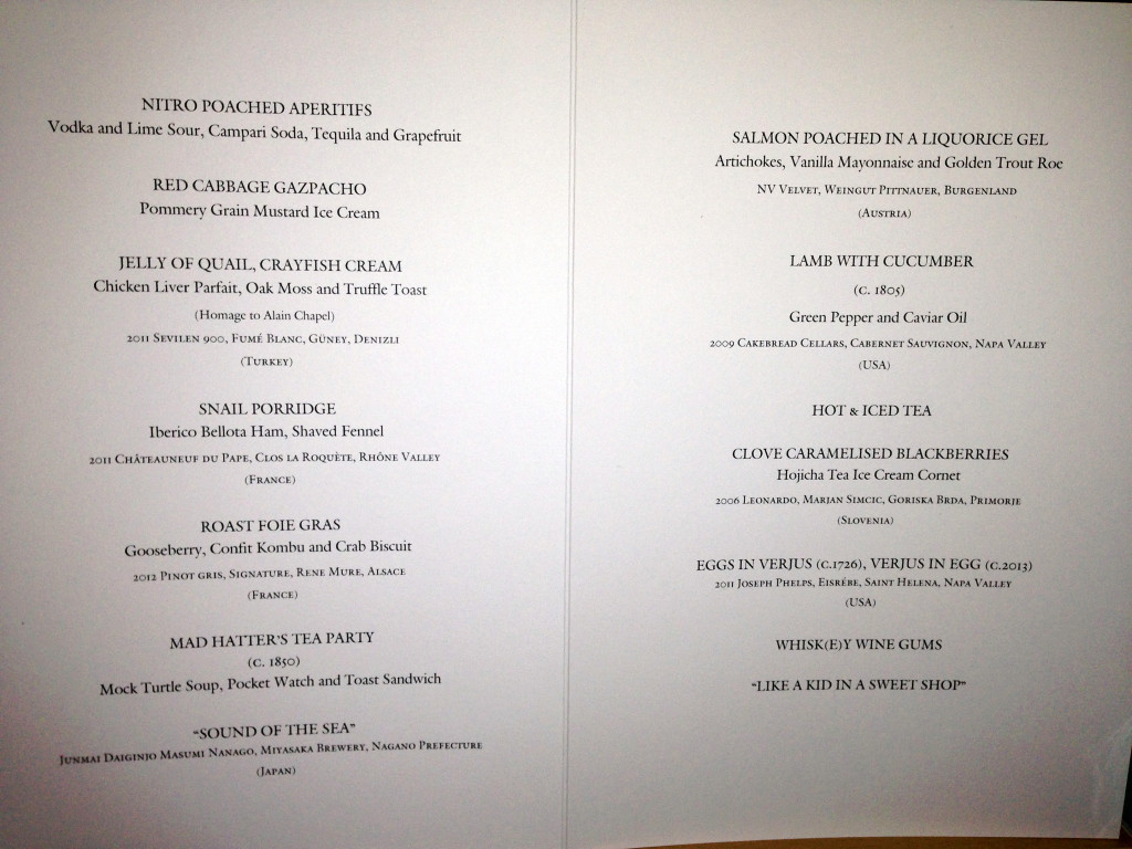 Fat Duck menu