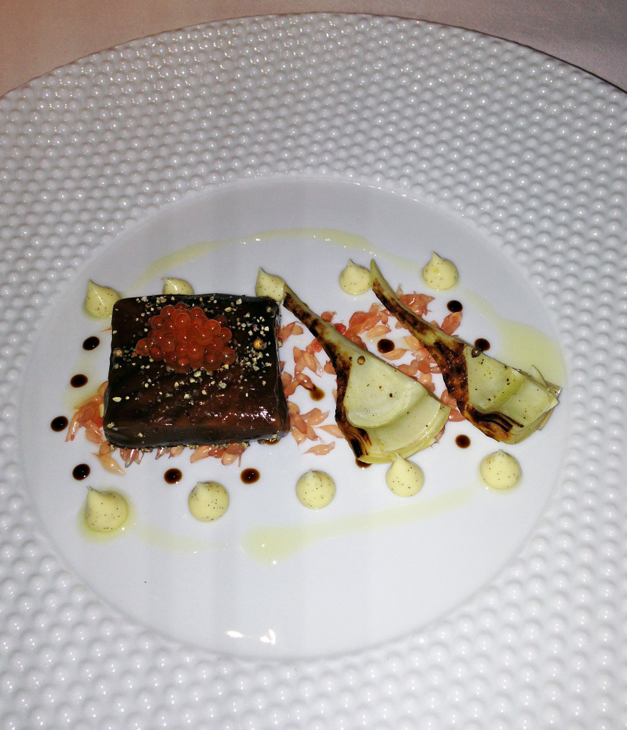 Fat Duck salmon poached in a liquorice gel