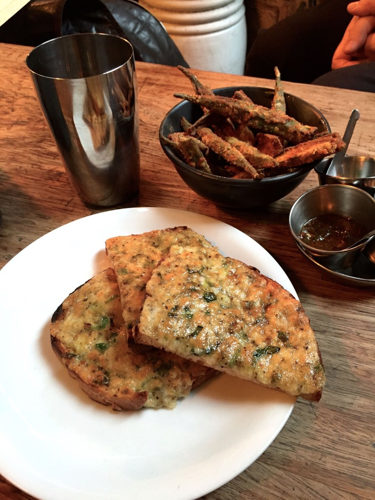 Dishoom chilli cheese toast and ochra fries