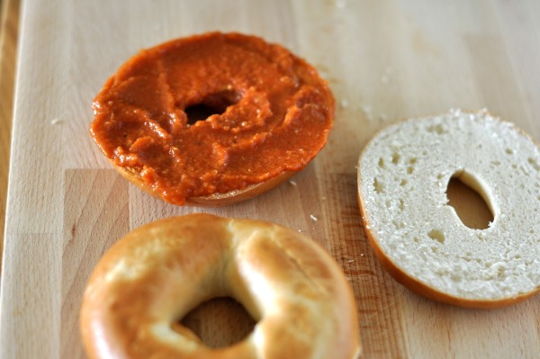 Bagel with tomato sauce