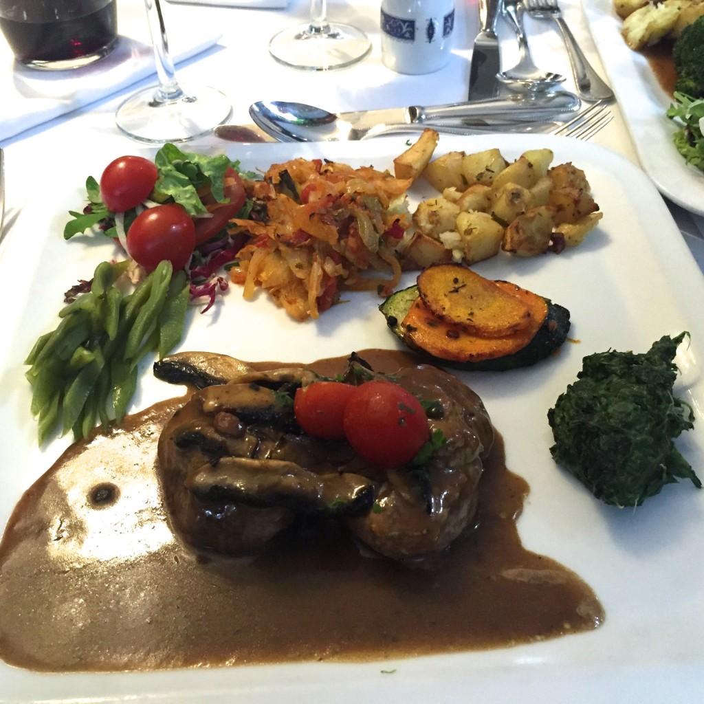 Tokos veal and flambé mushrooms