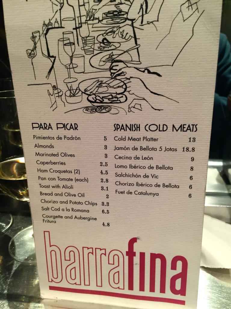 Barrafina starters menu