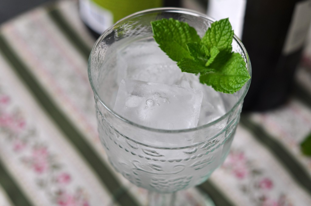 Glass with ice and mint