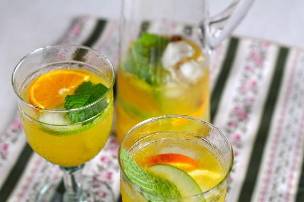 Prosecco white sangria glasses and jug