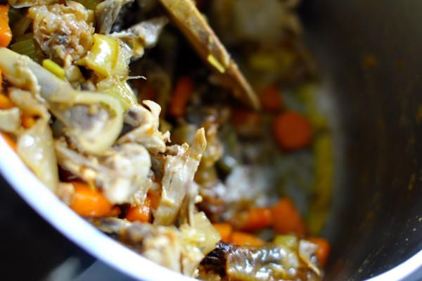Roast chicken broth bones and vegetables