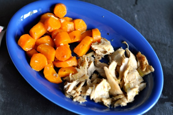Roast chicken broth carrots and chicken bits