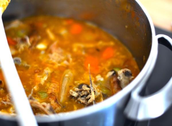 Roast chicken broth simmering