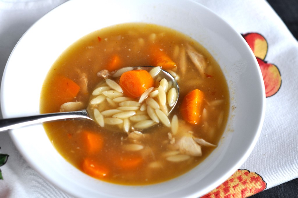 Roast chicken broth with orzo