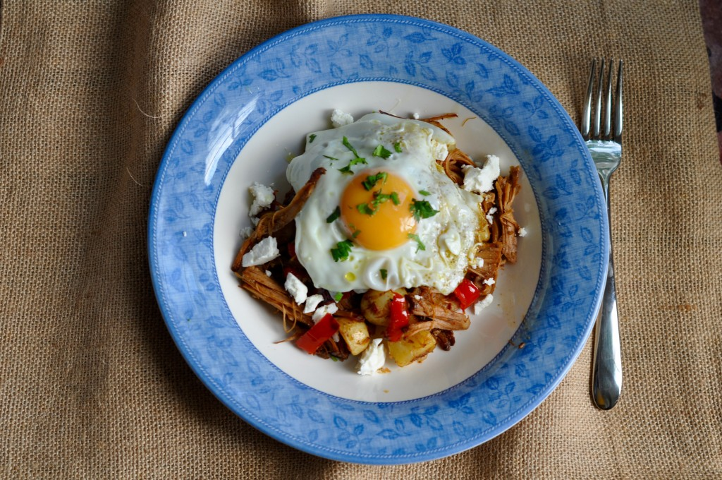 Pulled pork hash with egg and feta