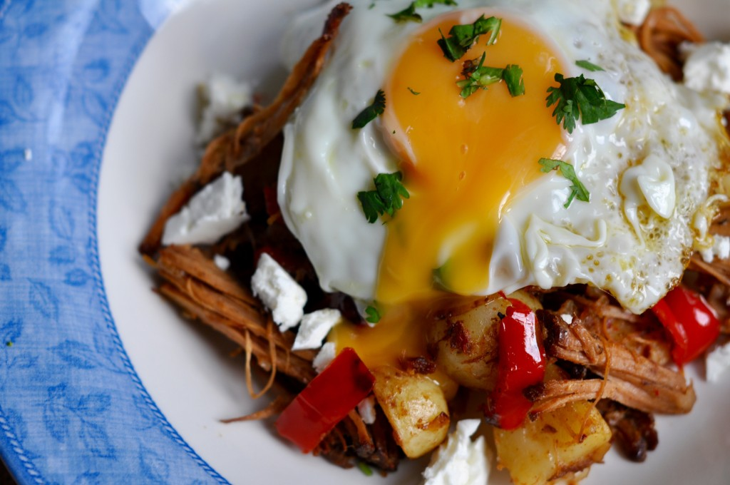 Pulled pork hash with oozy egg