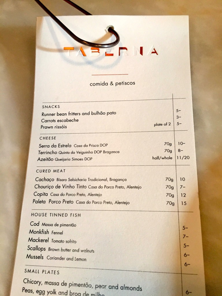 Taberna do Mercado menu