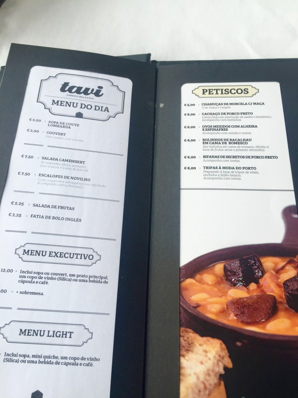 Inside Tavi's menu