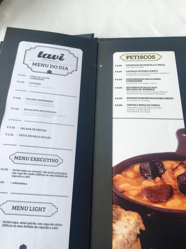 Inside Tavi's menu