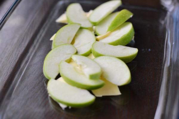 Apple slices on butter