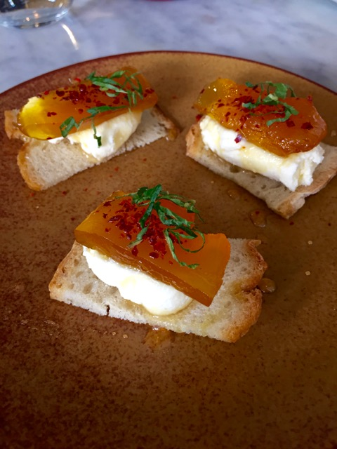 Whipped feta with candied pumpkin on chilli crostini